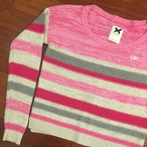 A&F Gilly Hicks Striped Pink & Cream Knit Sweater